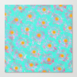 Abstract pink aqua orange watercolor brushstrokes daisies Canvas Print