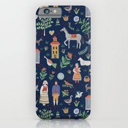 Swedish Folk Art - Blue iPhone Case