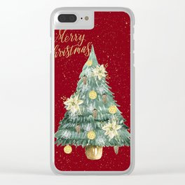 Christmas Tree Merry Christmas Red Clear iPhone Case