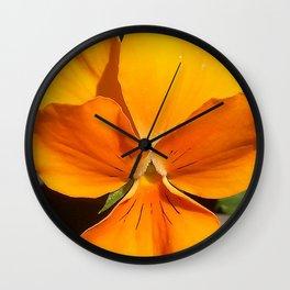 Orange Pansy Wall Clock