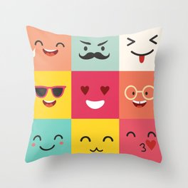 Emoticons vector pattern. Emoji square icons Throw Pillow