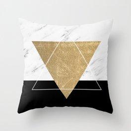 Golden marble deco geometric Throw Pillow