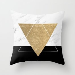 Golden marble deco geometric Throw Pillow
