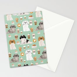 Pekingese dog breed dog pattern pet portraits coffee food dog breeds pet friendly Stationery Cards
