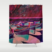 boats Shower Curtains featuring vintage boats by  Agostino Lo Coco