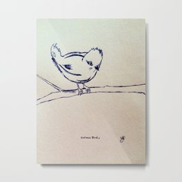 Curious Bird Ink Drawing Metal Print