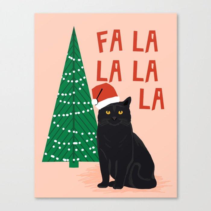 Black Cat cute fa la la christmas xmas tree holiday funny cat art cat lady gift unique pet gifts Canvas Print