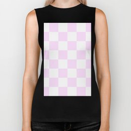 Large Checkered - White and Pastel Violet Biker Tank