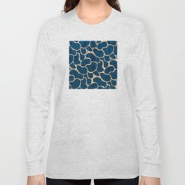 Blue Suede with Rose Gold Beans Pattern Long Sleeve T-shirt