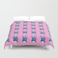 frenchie Duvet Covers featuring Frenchie Blues by Amanda Shelton