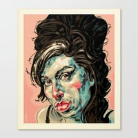 amy poehler Canvas Prints featuring Amy by Mark Bender