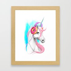 Unicorn in the headphones of donuts Framed Art Print