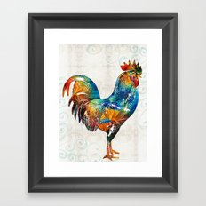 Colorful Rooster Art by Sharon Cummings Framed Art Print