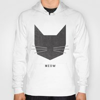 modern Hoodies featuring MEOW by Wesley Bird