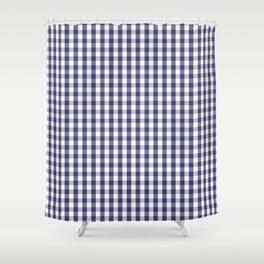USA Flag Blue Large Gingham Check Plaid Shower Curtain