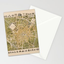 Map Of Milan 1877 Stationery Cards