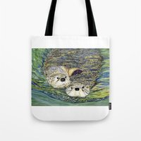 otters Tote Bags featuring Pair of Otters by Sandra Dean Wilson