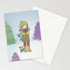 Girl and Dog in Snow Stationery Cards