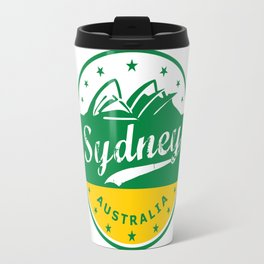 Sydney City, Australia, circle, green yellow Travel Mug