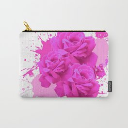 CERISE PINK ROSE PATTERN WATERCOLOR SPLATTER Carry-All Pouch