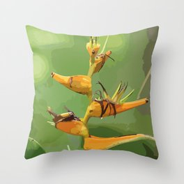 Tropical Flower CR Illustration yellow Throw Pillow