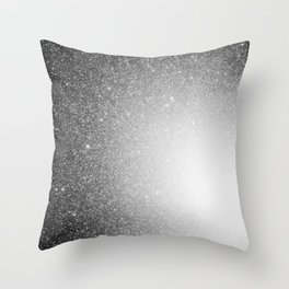 Galaxy Stars Ombre : Black Slate Gray Throw Pillow