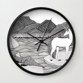 A Meeting by the Water--B&W Wall Clock