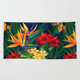 Tropical Paradise Hawaiian Floral Illustration Beach Towel