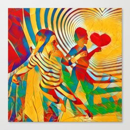 7586s-MM Red Shadow Heart Catch Cherish Set Free Abstract Romantic Love Canvas Print