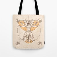 aang Tote Bags featuring Vitruvian Aang by Fanboy30