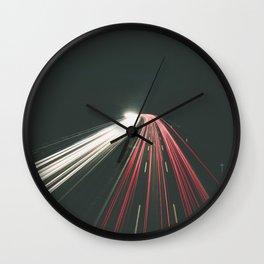 Long exposure traffic light line at night Wall Clock