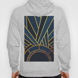 Art Deco Sunset In Navy Blue Hoody