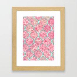 Moroccan Floral Lattice Arrangement in Pinks Framed Art Print