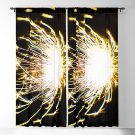 Yellow Glitter Firework In Sphere Blackout Curtain