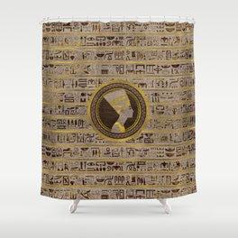 Pyrographed Golden Nefertiti on wood Shower Curtain