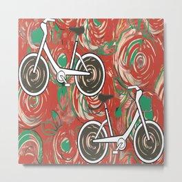 Biking By Red Rose Garden by Lorloves Design Metal Print