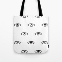 david bowie Tote Bags featuring Eyes - David Bowie by Mariootsa