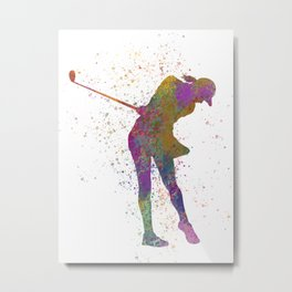 Female golf player competing in watercolor 01 Metal Print