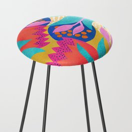 Bold Flower Pattern Yellow Background Counter Stool