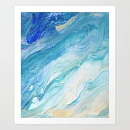 Calm Seas: Acrylic Pour Painting Art Print