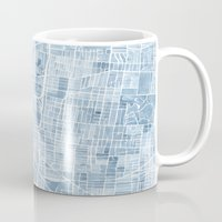 blueprint Mugs featuring Memphis Tennessee blueprint watercolor map by Anne E. McGraw