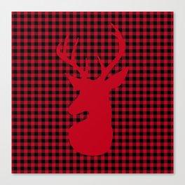 Red Plaid Deer Stag Design Canvas Print