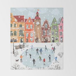 winter town Throw Blanket