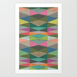 Colorblock Tribal Triangle Pattern Art Print