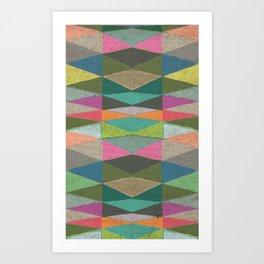 Colorblock Tribal Triangle Pattern Art Print