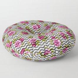 Neon pink green white black geometrical chevron floral Floor Pillow