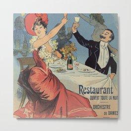 French Paris Restaurant advert by Chéret 1899 Metal Print