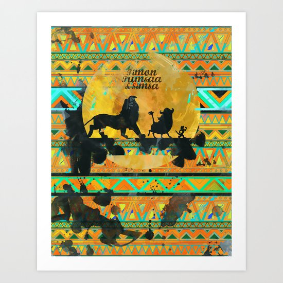 Timon, Pumbaa & Simba. Art Print