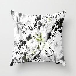 Black&White Lily Throw Pillow