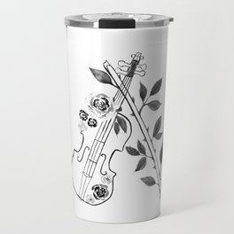 Violin, black and white Travel Mug